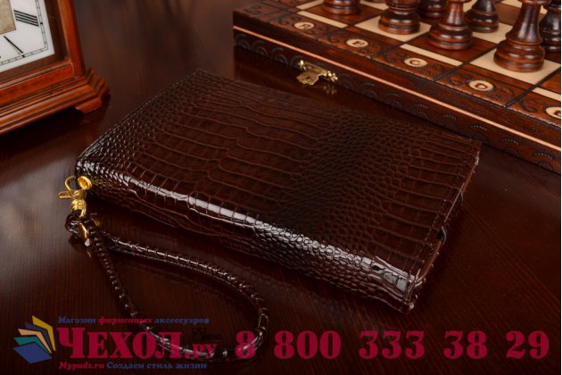 Фирменный роскошный эксклюзивный чехол-клатч/портмоне/сумочка/кошелек из лаковой кожи крокодила для планшетов BQ 7005G. Только в нашем магазине. Количество ограничено.