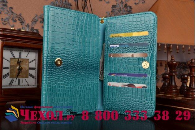 Фирменный роскошный эксклюзивный чехол-клатч/портмоне/сумочка/кошелек из лаковой кожи крокодила для планшетов TeXet TM-7046 3G. Только в нашем магазине. Количество ограничено.