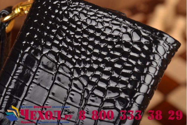 Фирменный роскошный эксклюзивный чехол-клатч/портмоне/сумочка/кошелек из лаковой кожи крокодила для телефона Prestigio MultiPhone 3502 DUO. Только в нашем магазине. Количество ограничено