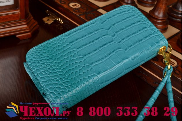 Фирменный роскошный эксклюзивный чехол-клатч/портмоне/сумочка/кошелек из лаковой кожи крокодила для телефона DEXP Ixion M 3.5. Только в нашем магазине. Количество ограничено