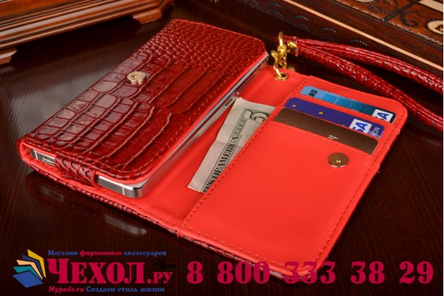 Фирменный роскошный эксклюзивный чехол-клатч/портмоне/сумочка/кошелек из лаковой кожи крокодила для телефона teXet X-shine TM-5007. Только в нашем магазине. Количество ограничено