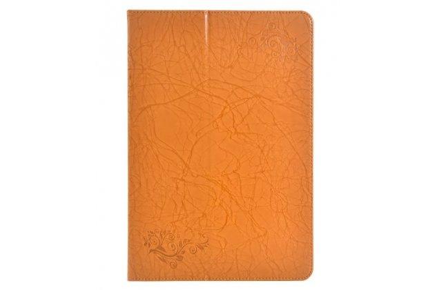 Фирменный чехол с красивым узором для планшетаCHUWI Hi 12 оранжевый натуральная кожа Италия