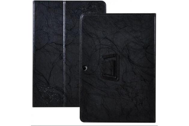 Фирменный чехол закрытого типа с красивым узором для планшета Chuwi Hi10 Plus с держателем для руки черный натуральная кожа Prestige Италия