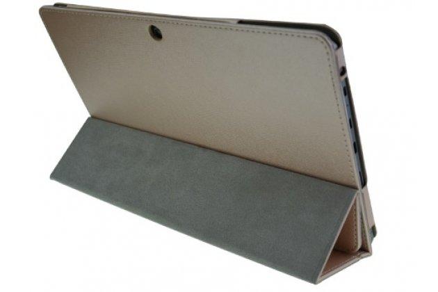 Фирменный чехол-футляр-книжка для CHUWI HiBook / HiBook Pro 10.1 золотой кожаный