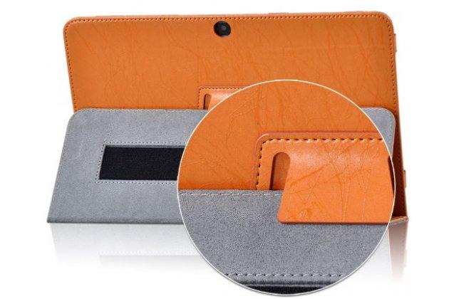 Фирменный чехол с красивым узором для планшета CHUWI HiBook / HiBook Pro 10.1 оранжевый натуральная кожа Италия