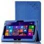Фирменный чехол с красивым узором для планшета CHUWI HiBook / HiBook Pro 10.1 синий натуральная кожа Италия..