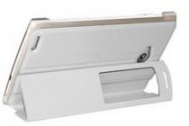 Фирменный оригинальный чехол-обложка для Qumo Altair 706 белый пластиковый с окном для входящих вызовов