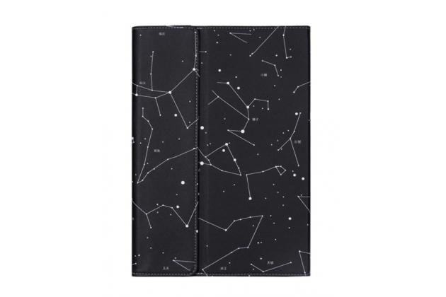 """Фирменный оригинальный чехол для Cube Mix Plus с отделением под клавиатуру черный кожаный тематика """"Созвездие"""""""
