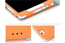 Фирменный чехол закрытого типа с красивым узором для планшета Cube T8 Ultimate / T8 Plus  с держателем для руки оранжевый натуральная кожа  Италия