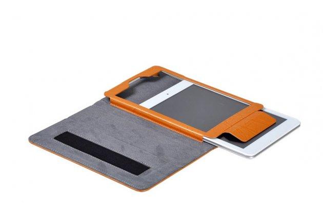 """Фирменный чехол с красивым узором для планшета Cube iWork8 Air (U82GT) 8.0"""" синий натуральная кожа Италия"""
