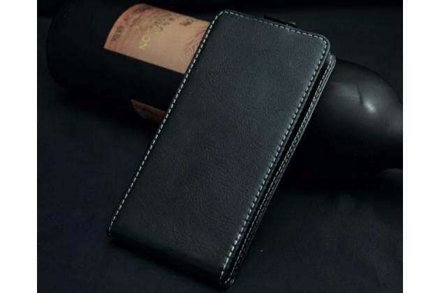 """Фирменный оригинальный вертикальный откидной чехол-флип для DEXP Ixion ES2 4.5"""" черный из натуральной кожи """"Prestige"""" Италия"""
