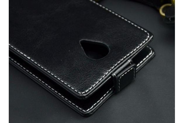 """Фирменный оригинальный вертикальный откидной чехол-флип для DEXP Ixion ES2 5  черный из натуральной кожи """"Prestige"""" Италия"""