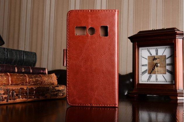 Фирменный чехол-книжка из качественной импортной кожи с подставкой застёжкой и визитницей для DOOGEE T3 коричневый