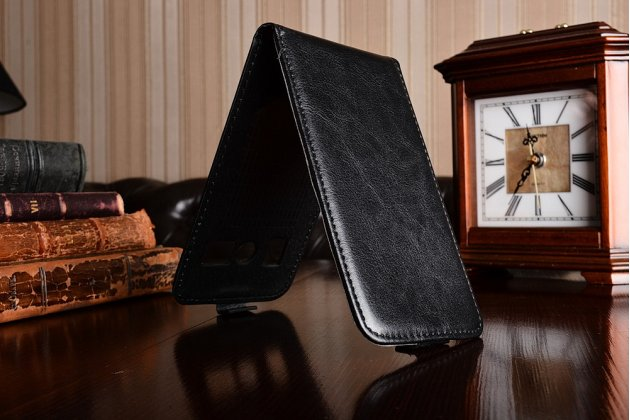 Фирменный оригинальный вертикальный откидной чехол-флип для DOOGEE T3 черный из натуральной кожи Prestige