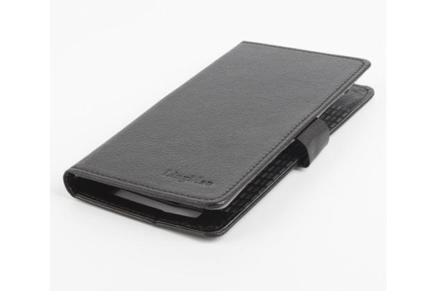 Фирменный чехол-книжка для DOOGEE T6 с визитницей и мультиподставкой черный кожаный