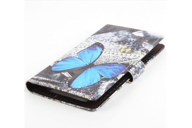 """Фирменный уникальный необычный чехол-книжка для DOOGEE T6 """"тематика радужные Бабочки"""""""
