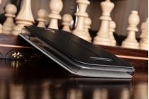 Фирменный оригинальный чехол-книжка для DOOGEE X6/ X6 Pro черный с окошком для входящих вызовов водоотталкивающий