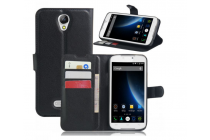 Фирменный чехол-книжка для DOOGEE X6/ X6 Pro с визитницей и мультиподставкой черный кожаный