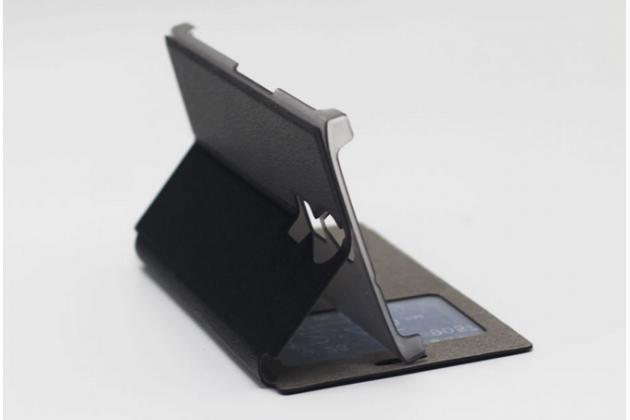 Фирменный оригинальный чехол-книжка для Doogee F5 черный с окошком для входящих вызовов водоотталкивающий