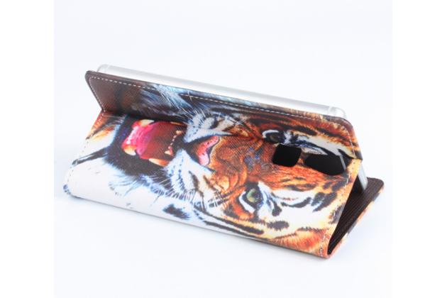 """Фирменный уникальный необычный чехол-подставка с визитницей кармашком на Doogee F5  """"тематика Тигр"""""""