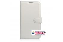 Фирменный чехол-книжка из качественной импортной кожи с подставкой застёжкой и визитницей для Doogee F7 белый