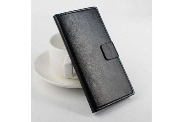 Фирменный чехол-книжка из качественной импортной кожи с мульти-подставкой застёжкой и визитницей для Додж Валенсия 2 У100 Про черный