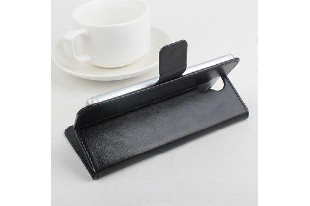 Фирменный чехол-книжка из качественной импортной кожи с мульти-подставкой застёжкой и визитницей для Додж Доогее Доджиие Вояджер 2 ДЖ310 черный