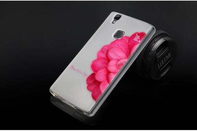 """Фирменная уникальная задняя панель-крышка-накладка из тончайшего силикона для Doogee X5 MAX с объёмным 3D рисунком """"тематика Алый Цветок"""""""