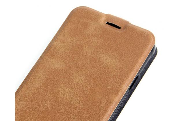"""Фирменный вертикальный откидной чехол-флип для Doogee X5 MAX/X5 MAX Pro"""" коричневый"""