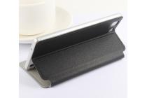 Фирменный чехол-книжка для Doogee X5 / X5C / X5 Pro  черный с окошком для входящих вызовов из импортной кожи