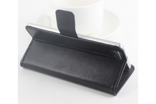 Фирменный чехол-книжка из качественной импортной кожи с мульти-подставкой застёжкой и визитницей для Доогее Х5 / Х5С / Х5 Про  черный