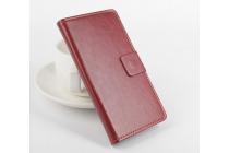 Фирменный чехол-книжка из качественной импортной кожи с мульти-подставкой застёжкой и визитницей для Доогее Х5 / Х5С / Х5 Про коричневый