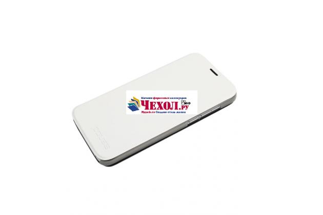 Фирменный чехол-книжка из качественной водоотталкивающей импортной кожи на жёсткой металлической основе для Doogee X9 Pro белый