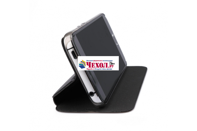 Фирменный чехол-книжка из качественной водоотталкивающей импортной кожи на жёсткой металлической основе для Doogee X9 Pro черный