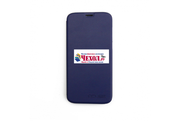 Фирменный чехол-книжка из качественной водоотталкивающей импортной кожи на жёсткой металлической основе для Doogee X9 Pro синий