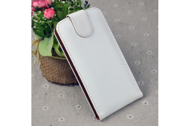 Фирменный оригинальный вертикальный откидной чехол-флип для Doogee X9 Mini белый из натуральной кожи Prestige