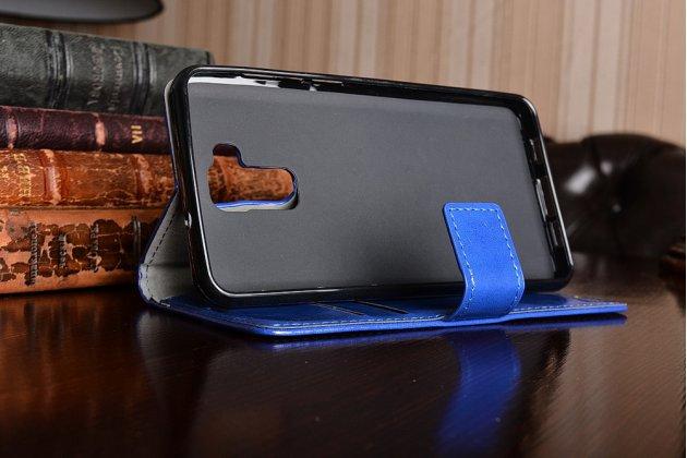 Фирменный чехол-книжка из качественной импортной кожи с подставкой застёжкой и визитницей для Doogee Y6 синий