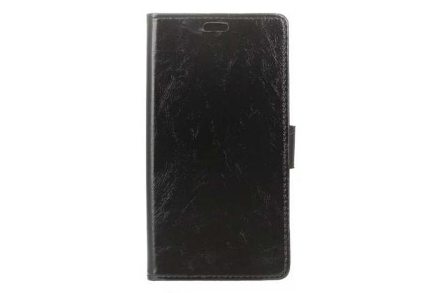 Фирменный чехол-книжка из качественной импортной кожи с подставкой застёжкой и визитницей для Doogee Y6 черный