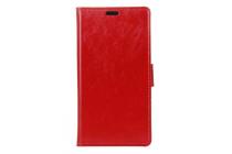 Фирменный чехол-книжка из качественной импортной кожи с подставкой застёжкой и визитницей для Doogee Y6 красный