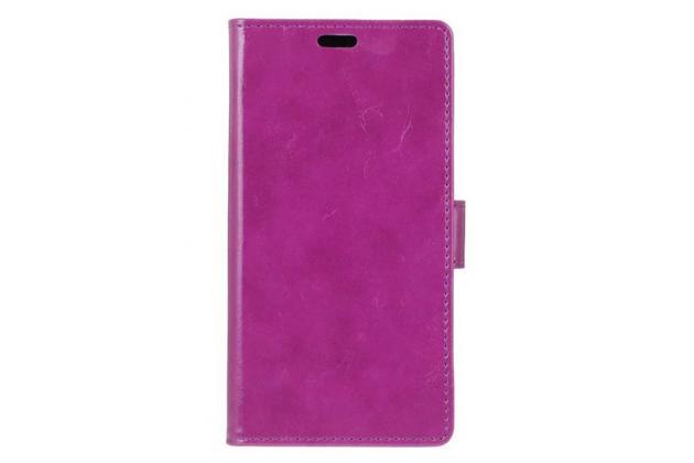 Фирменный чехол-книжка из качественной импортной кожи с подставкой застёжкой и визитницей для Doogee Y6 розовый