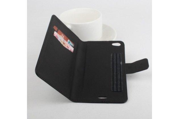 Фирменный чехол-книжка из качественной импортной кожи с мульти-подставкой застёжкой и визитницей для Додж Турбо 2 ДЖ900 черный