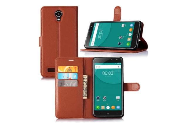 Фирменный чехол-книжка из качественной импортной кожи с подставкой застёжкой и визитницей для Doogee X7 Pro коричневый