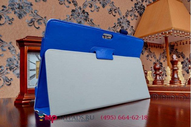 Фирменный чехол-футляр-книжка для Dell Venue 11 Pro (VPRO-8359./VP11-8267) синий кожаный
