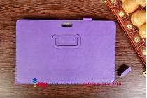 """Фирменный чехол-книжка для Dell Venue 11 Pro с визитницей и держателем для руки фиолетовый натуральная кожа """"Prestige"""" Италия"""