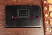 Фирменный чехол-обложка для Dell Venue 7 черный кожаный