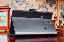 """Фирменный чехол обложка для Dell Venue 8 7840 8.4"""" с визитницей и держателем для руки черный натуральная кожа """"Prestige"""" Италия"""