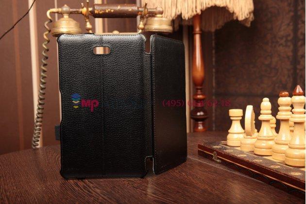 """Фирменный чехол для Dell Venue 8 Pro 5830/8 Pro 5000/8 Pro 3000  с мульти-подставкой и держателем для руки черный натуральная кожа """"Deluxe"""" Италия"""