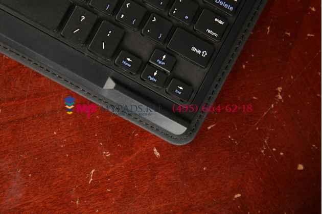 Фирменный оригинальный чехол со съёмной Bluetooth-клавиатурой для Dell Venue 8 Pro 5830/8 Pro 5000/8 Pro 3000 черный кожаный + гарантия