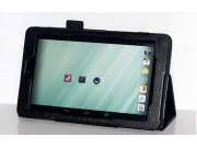 Фирменный оригинальный чехол обложка с подставкой для Dell Venue 8 android черный кожаный..