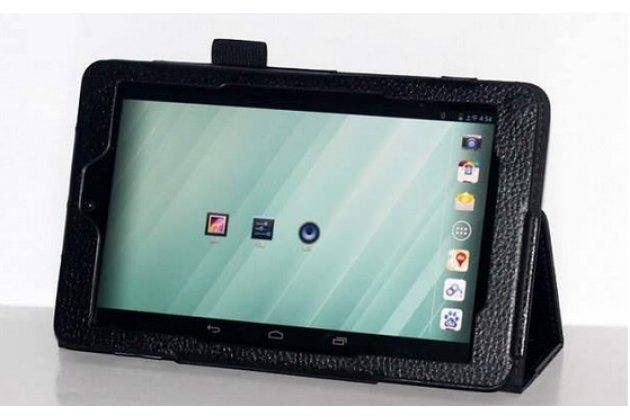 Фирменный оригинальный чехол обложка с подставкой для Dell Venue 8 android черный кожаный